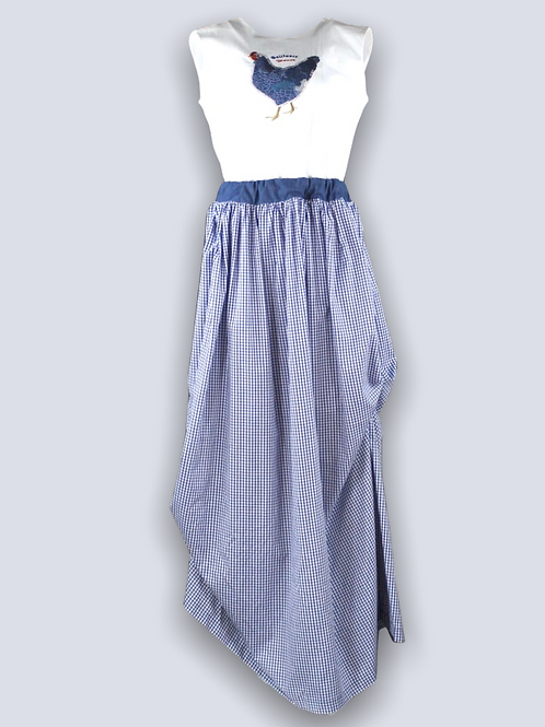 Long dress made of 100% cotton with embroidery