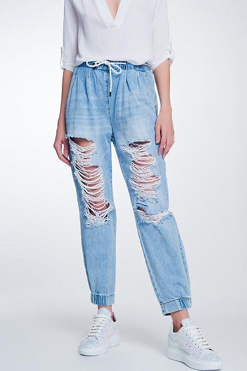 Heavily Ripped Boyfriend Jeans in Light Denim