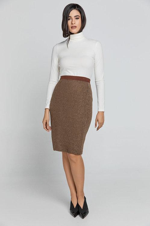 Brown Lurex Pencil Skirt Conquista