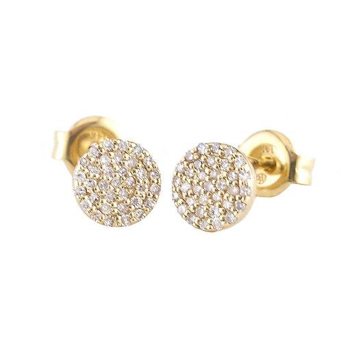 14k Yellow Gold Diamond Circle Stud Earrings