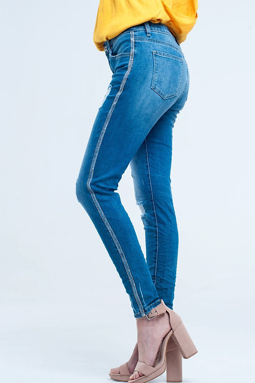 Skinny Jeans With Rips and Glitter Line