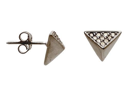 Silver Black Rhodium Plated  1 Triangle  Pyramid Stud Earings Cz Side .9mm