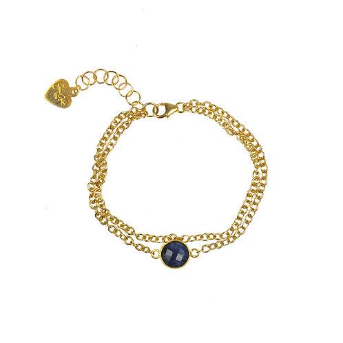 Lapis Lazuli Vermeil Double Chain Bracelet