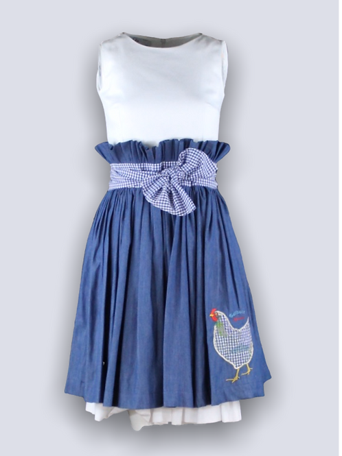 Romantic denim dress with embroidery