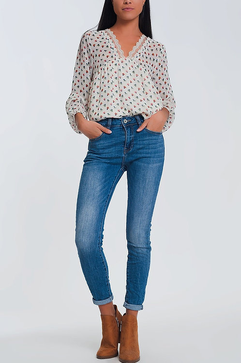 Mid Waist Skinny Jeans in Light Denim