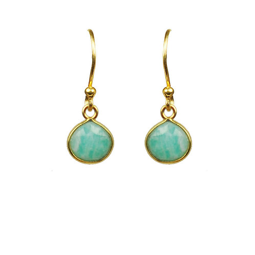 Amazonite Bezel Vermeil Earrings