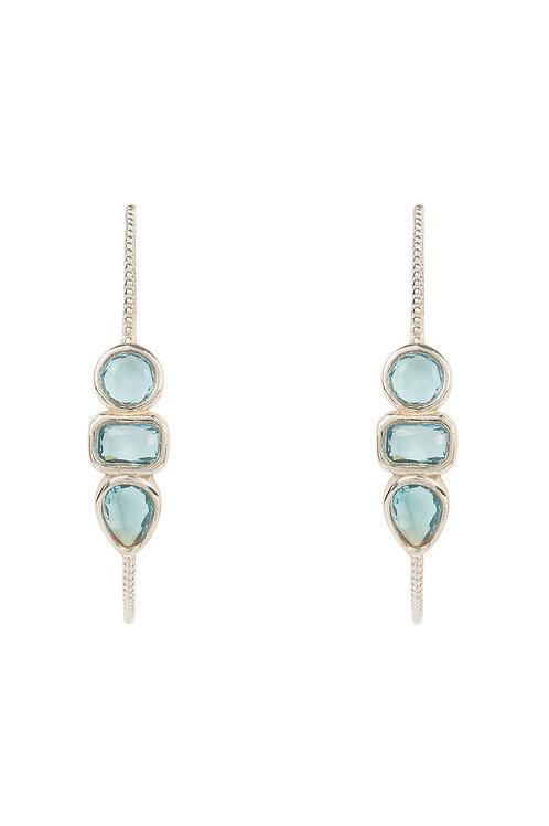 Venice Gemstone Hoop Earring Silver Blue Topaz