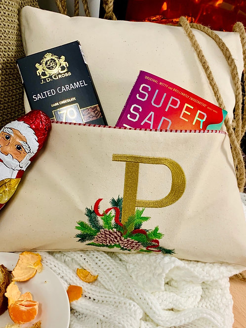Personalised Embroidered Christmas pillow with pocket