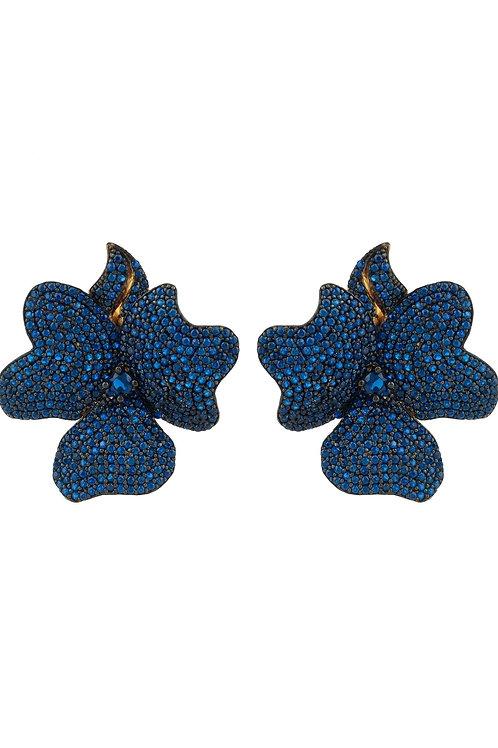 Flower Large Stud Earrings Gold Sapphire Blue