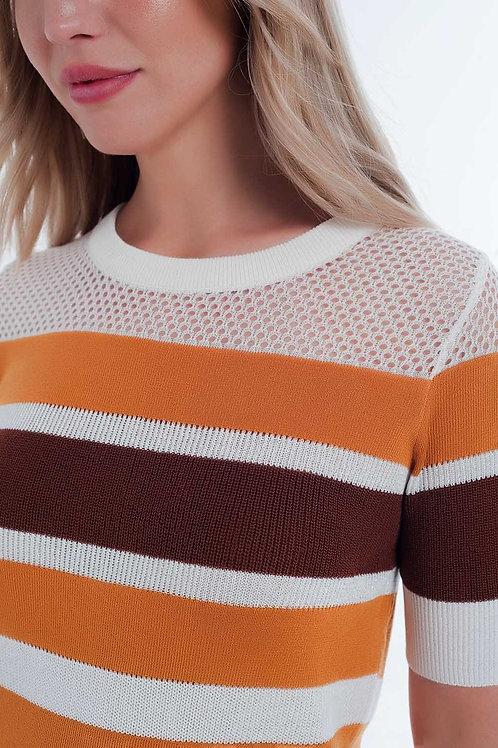 Mustard Striped Open Knit Sweater