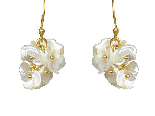 Short Keshi Pearl Cluster Earrings