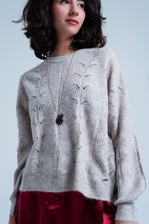 Beige Open Stitch Sweater in Fluffy Yarn