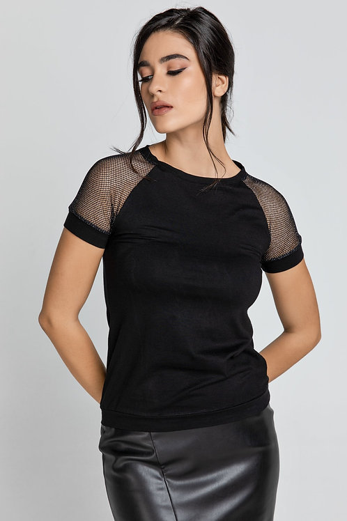 Black Jersey Top With Net Sleeve Detail