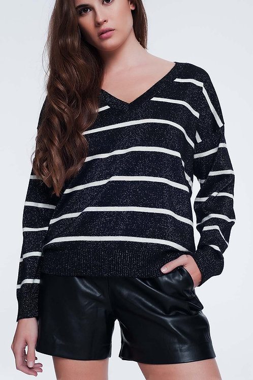 Black Sweater With Stripes and V-Neck