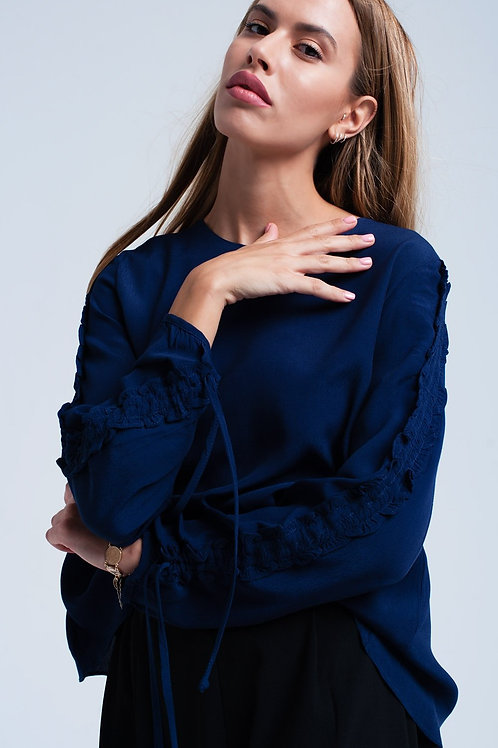 Navy Flowing Blouse