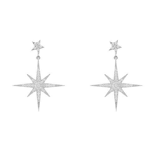 Petite Star Burst Drop Earring Silver