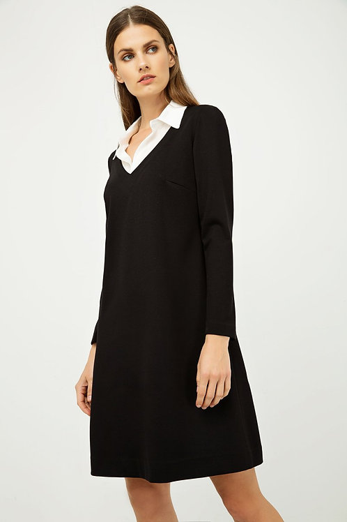 Dress With Shirt Style Collar Black