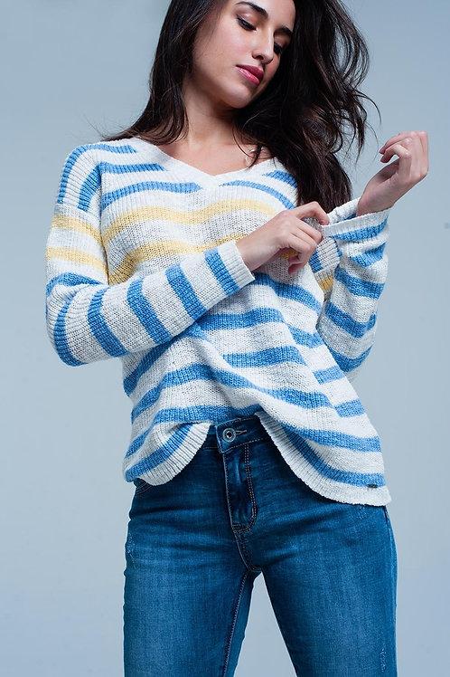 Blue Striped V-Neck Sweater