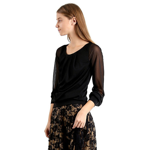Evanese Women's Blouse Top With Pleated Neck, See-Through Pull Up Long Sleeves