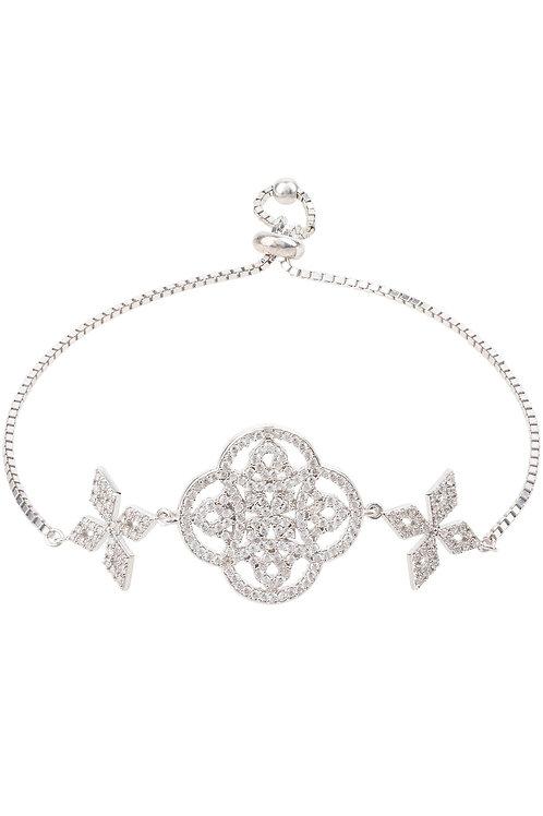 Celtic Knot Adjustable Clover Bracelet Silver