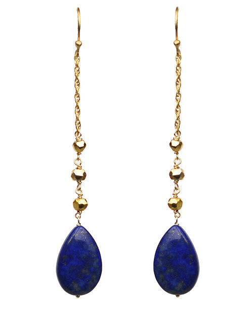 Lapis Lazuli Linear Drop Earrings