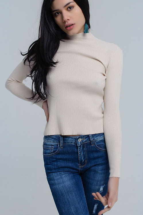 Beige Knitted Sweater With Lurex in Green Color