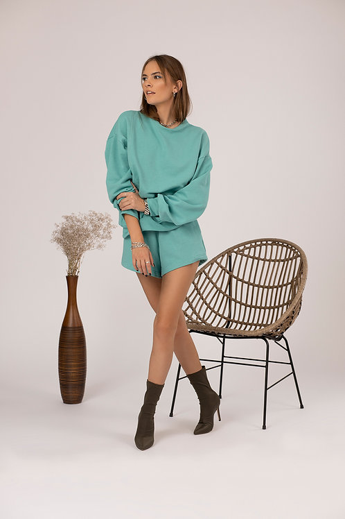 The Gia Short Sweatpants in Mint