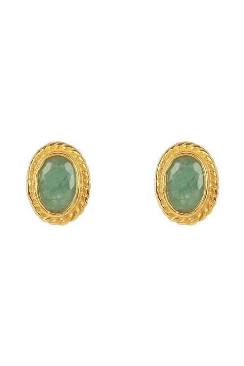 Birthstone Gold Gemstone Stud Earring  May Emerald