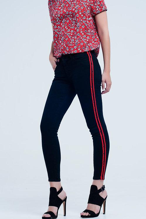 Super Skinny Black Jeans With Side Eyelets