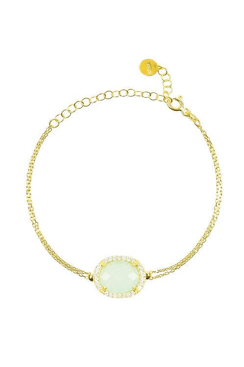 Beatrice Oval Gemstone Bracelet Gold  Aqua Chalcedony