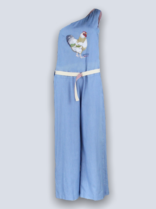 Daily denim jumpsuit with embroidery