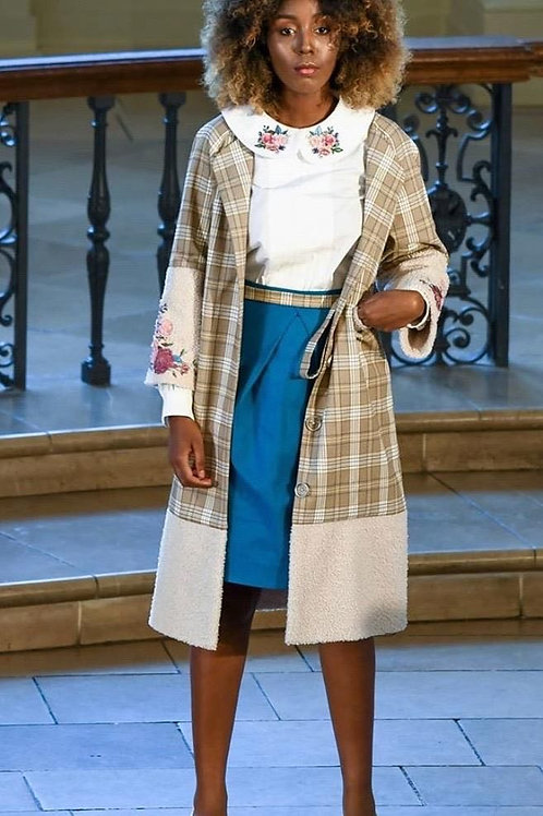 Set of embroidered coat, skirt and blouse