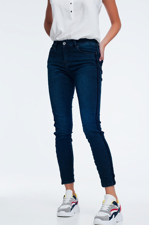 Skinny Jeans With Sports Blue Stripes