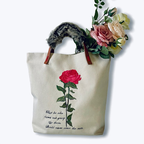 Embroidered bag with a rose