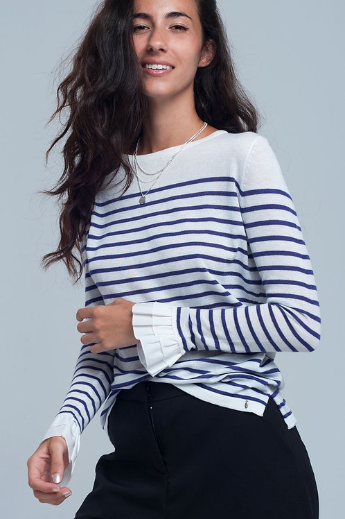 Purple Striped White Shirt