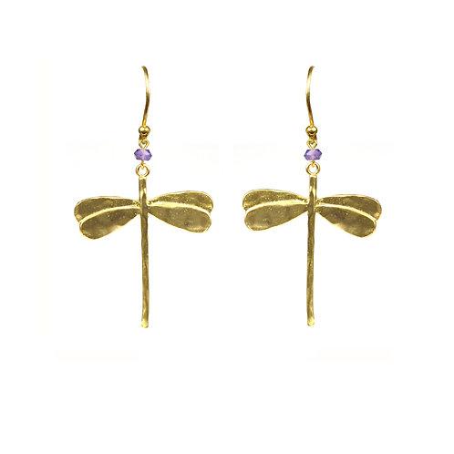 Dragonfly Amethyst Earrings