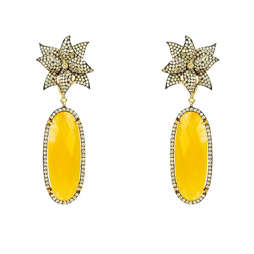 Lotus Flower Oval Yellow Citrine Earring Gold