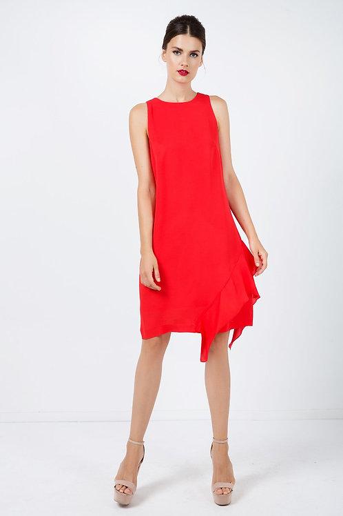 Frill Detail Red Sleeveless Dress