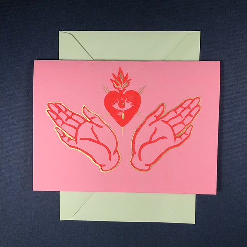Sacred Heart and Open Hands Card