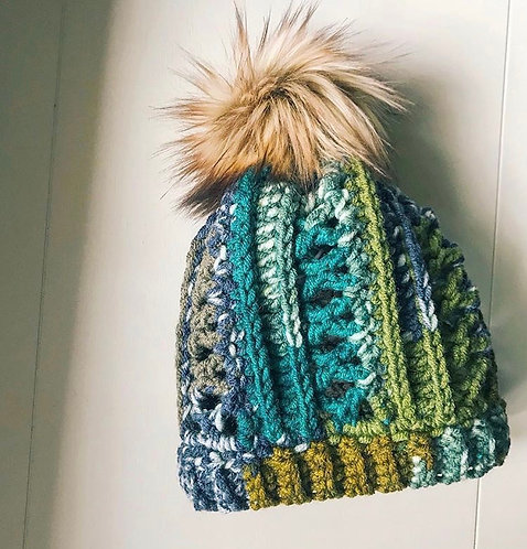 Fitted Crochet Hat with Faux Fur Pom Pom