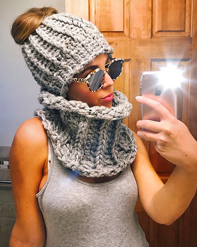 Messy Bun Beanies and Cowl Sets