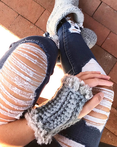 "The ""Fur""ever Fall Fingerless Gloves CROCHET PATTERN"