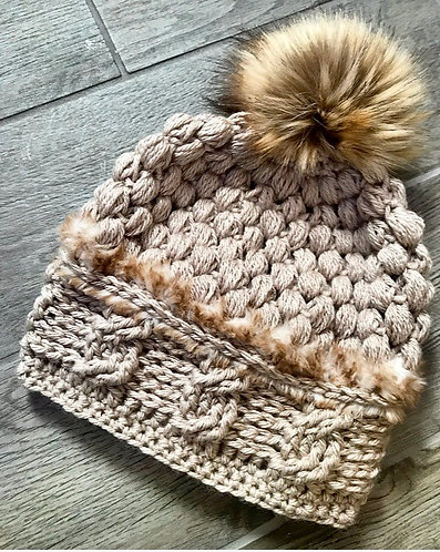 "The ""Fuzzy Antique Cable"" Slouch Beanie CROCHET PATTERN"