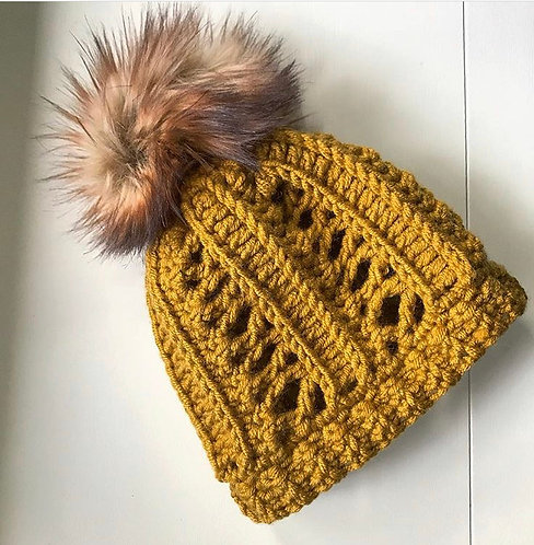 Fitted Crochet Beanie with Faux Fur Pom