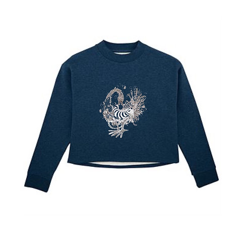 Sankofa Bird Cropped Sweatshirt Black