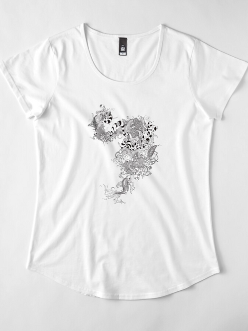 Koi Bubbles Premium Scoop T-shirt