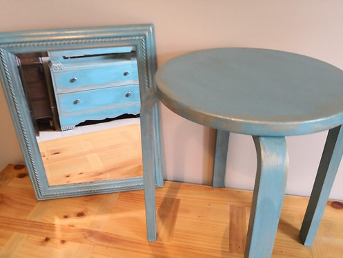 Teal Vintage Dressing Table - Aged