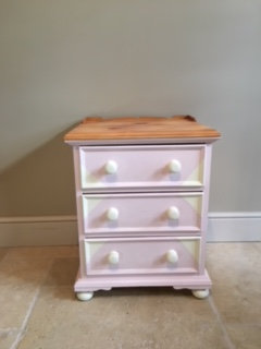 Girls Bedside Table -Pink and Cream