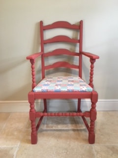 Individual Statement Chair - Red Patchwork