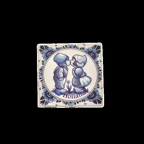 Magneet Delfts Blauw Kussend Paar